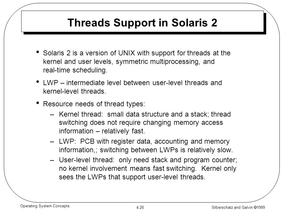 Threads Support in Solaris 2