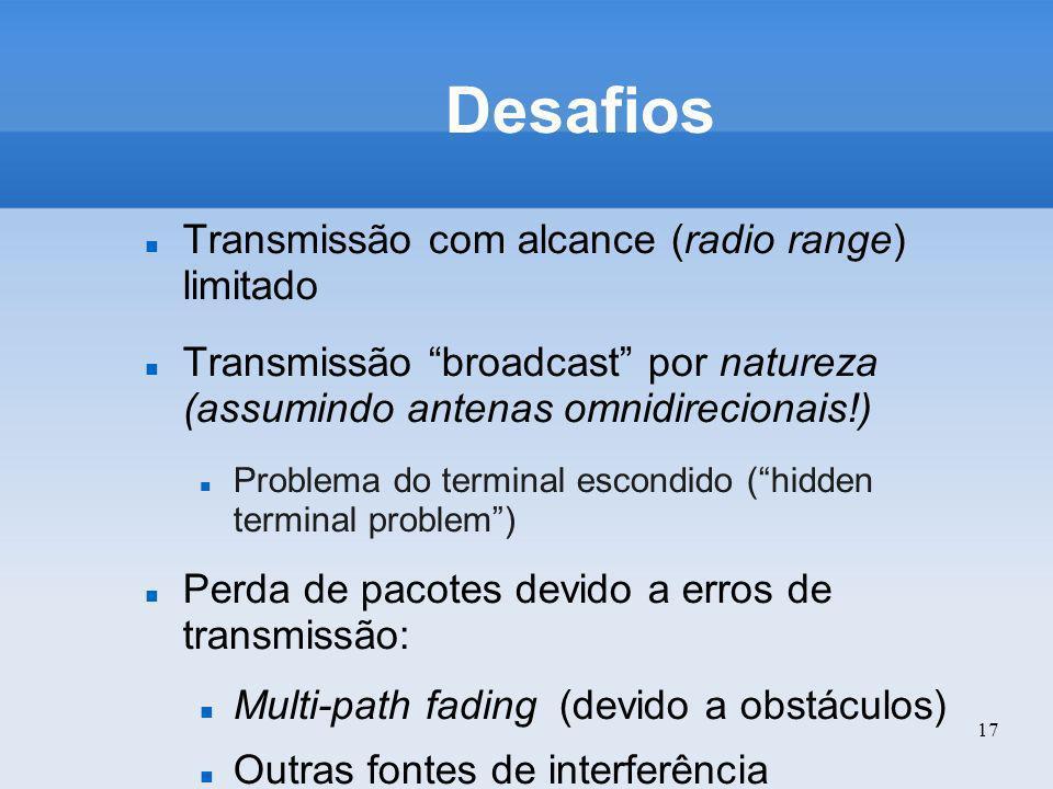 Desafios Transmissão com alcance (radio range) limitado