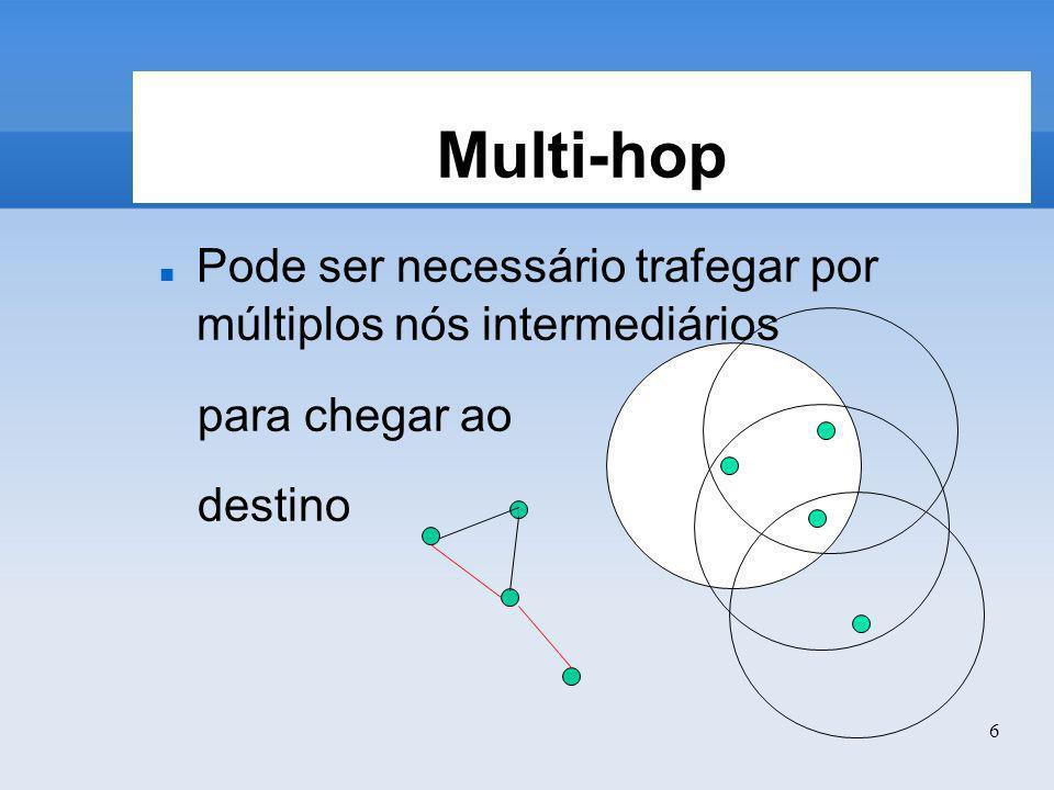 Multi-hop Pode ser necessário trafegar por múltiplos nós intermediários para chegar ao destino