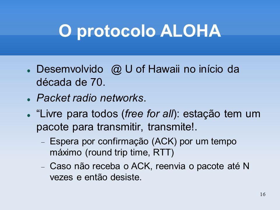 O protocolo ALOHA Desemvolvido @ U of Hawaii no início da década de 70. Packet radio networks.