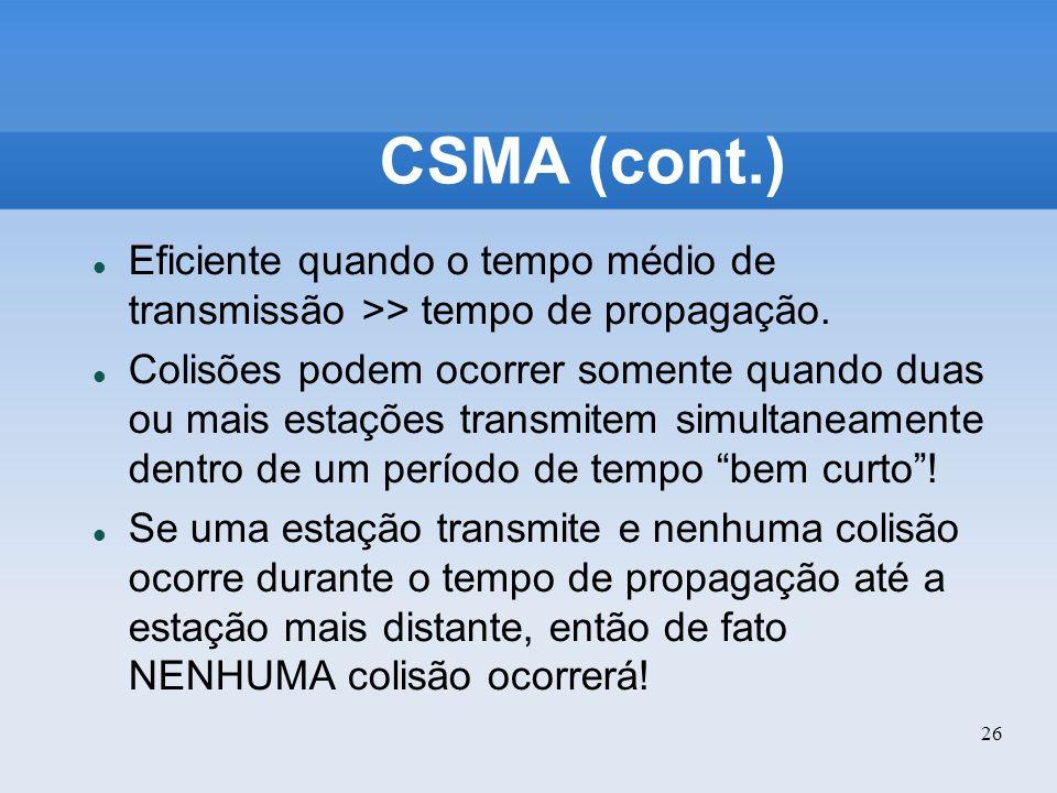 CSMA (cont.) Eficiente quando o tempo médio de transmissão >> tempo de propagação.