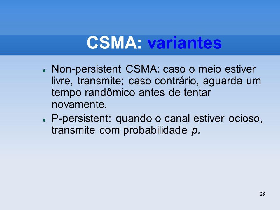 CSMA: variantes Non-persistent CSMA: caso o meio estiver livre, transmite; caso contrário, aguarda um tempo randômico antes de tentar novamente.