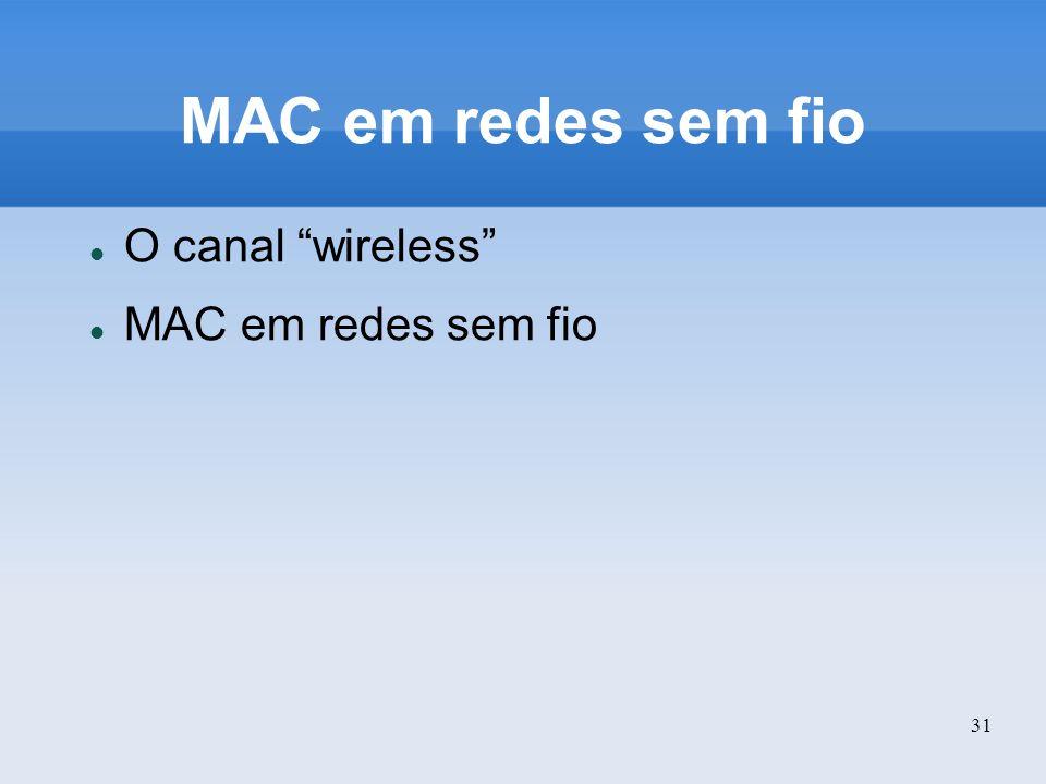 MAC em redes sem fio O canal wireless MAC em redes sem fio