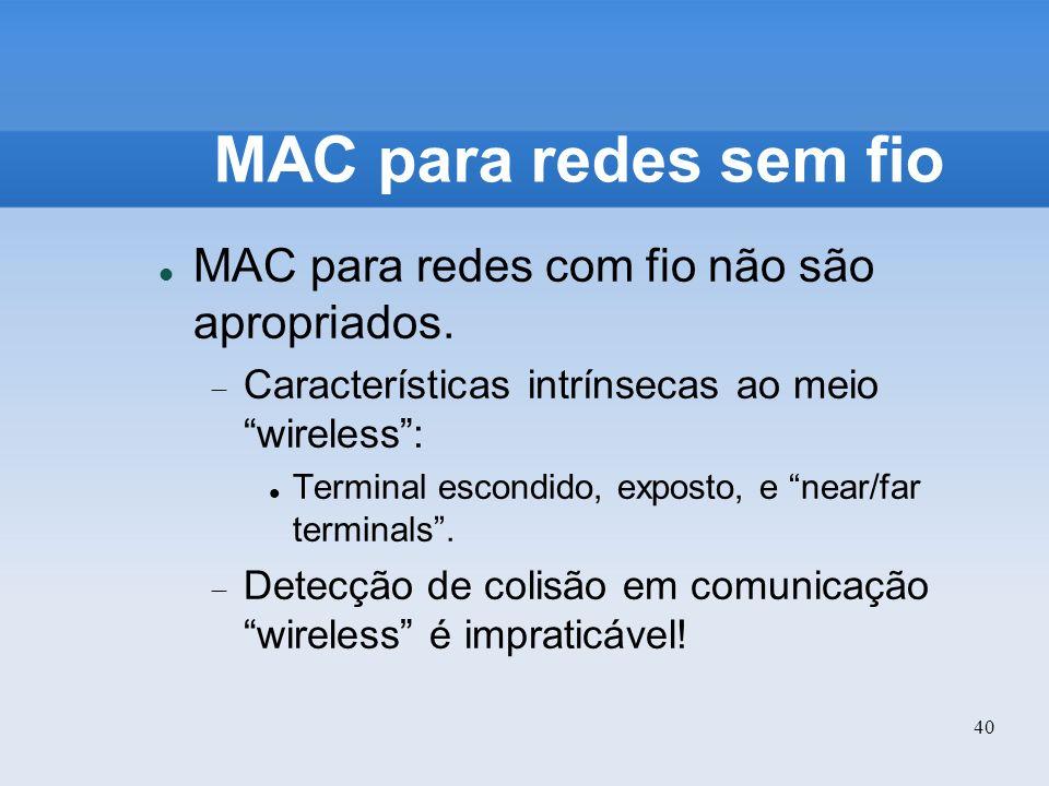 MAC para redes sem fio MAC para redes com fio não são apropriados.