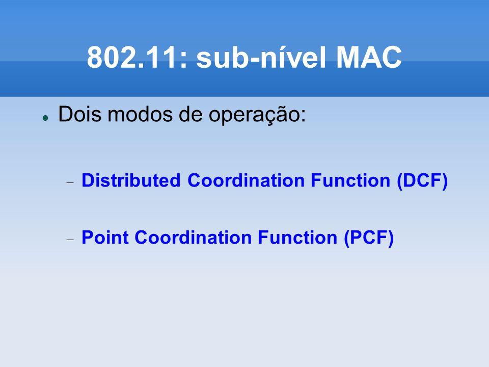 802.11: sub-nível MAC Dois modos de operação: