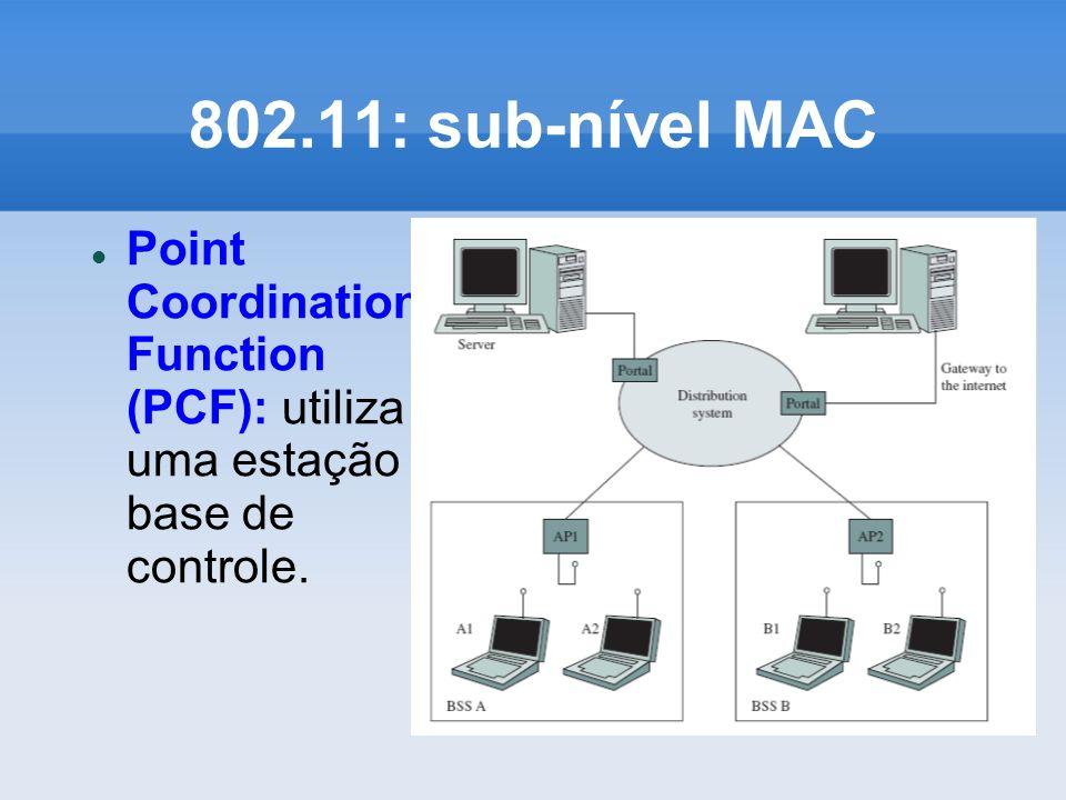 802.11: sub-nível MAC Point Coordination Function (PCF): utiliza uma estação base de controle.