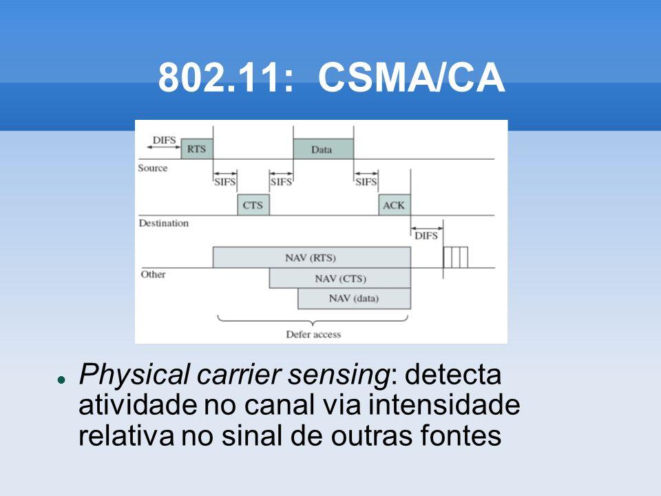 802.11: CSMA/CA Physical carrier sensing: detecta atividade no canal via intensidade relativa no sinal de outras fontes.
