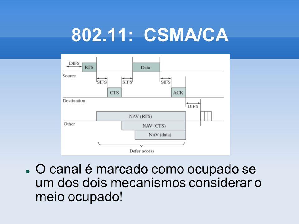 802.11: CSMA/CA O canal é marcado como ocupado se um dos dois mecanismos considerar o meio ocupado!