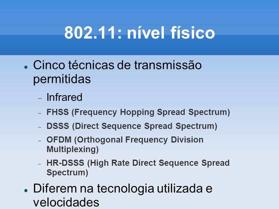 802.11: nível físico Cinco técnicas de transmissão permitidas