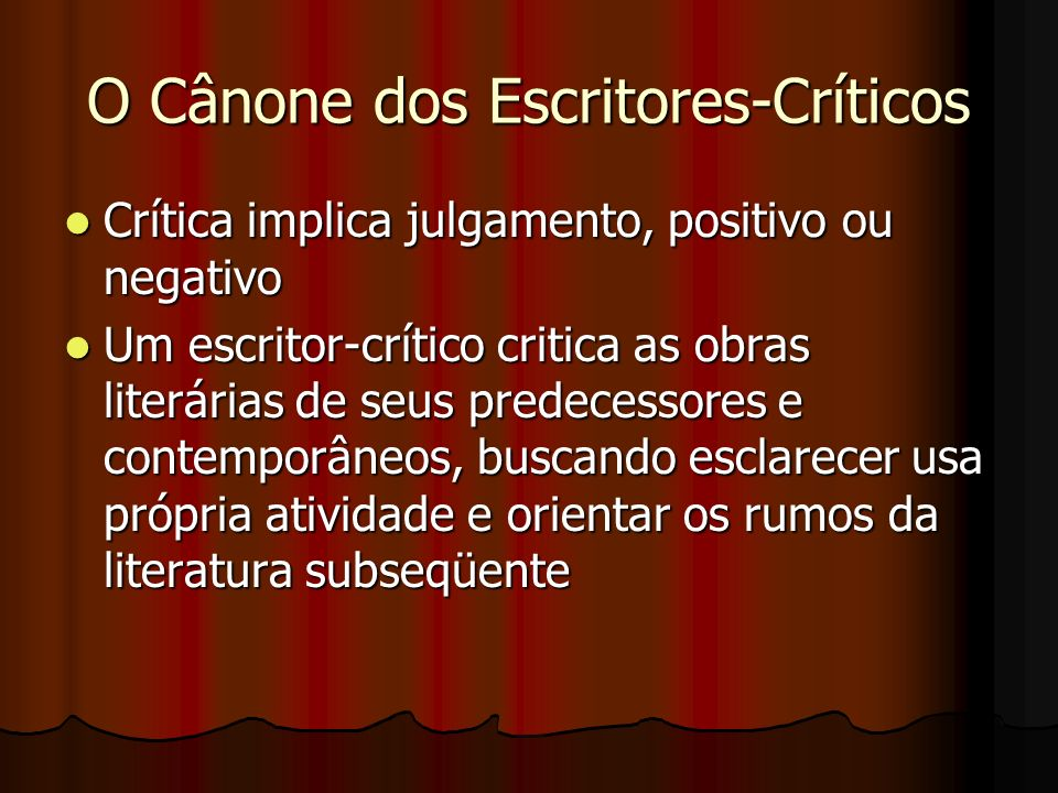 O Cânone dos Escritores-Críticos
