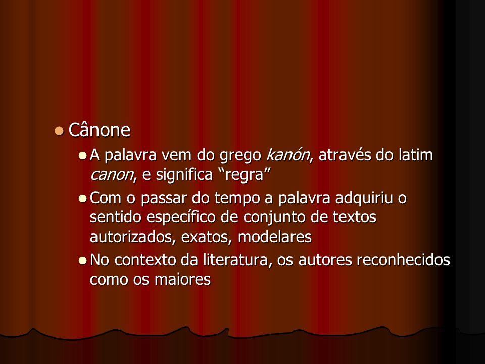 Cânone A palavra vem do grego kanón, através do latim canon, e significa regra