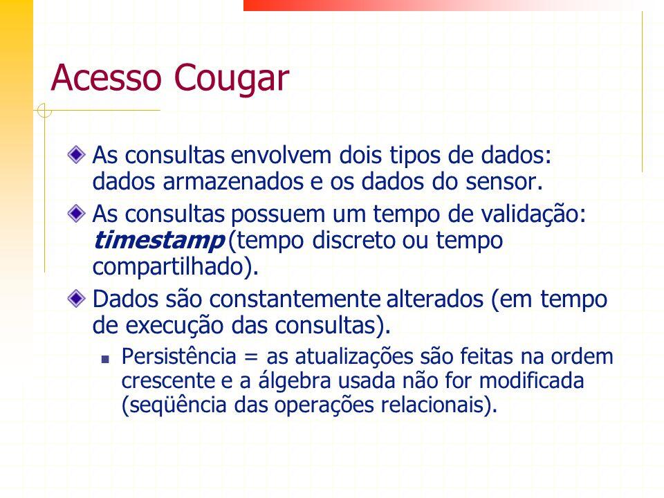 Acesso Cougar As consultas envolvem dois tipos de dados: dados armazenados e os dados do sensor.