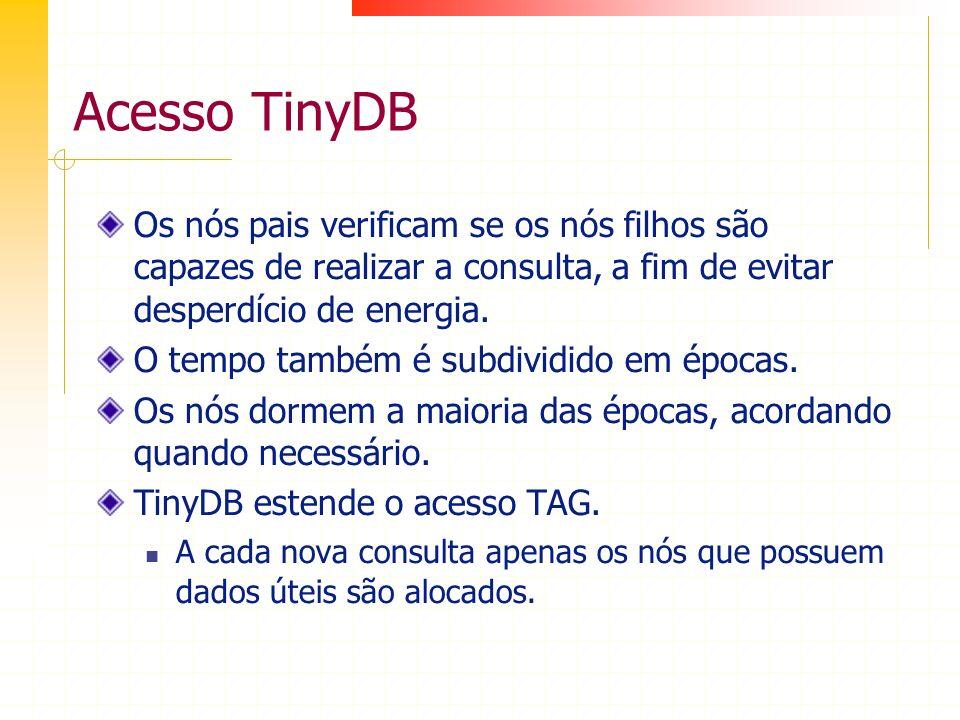 Acesso TinyDB Os nós pais verificam se os nós filhos são capazes de realizar a consulta, a fim de evitar desperdício de energia.
