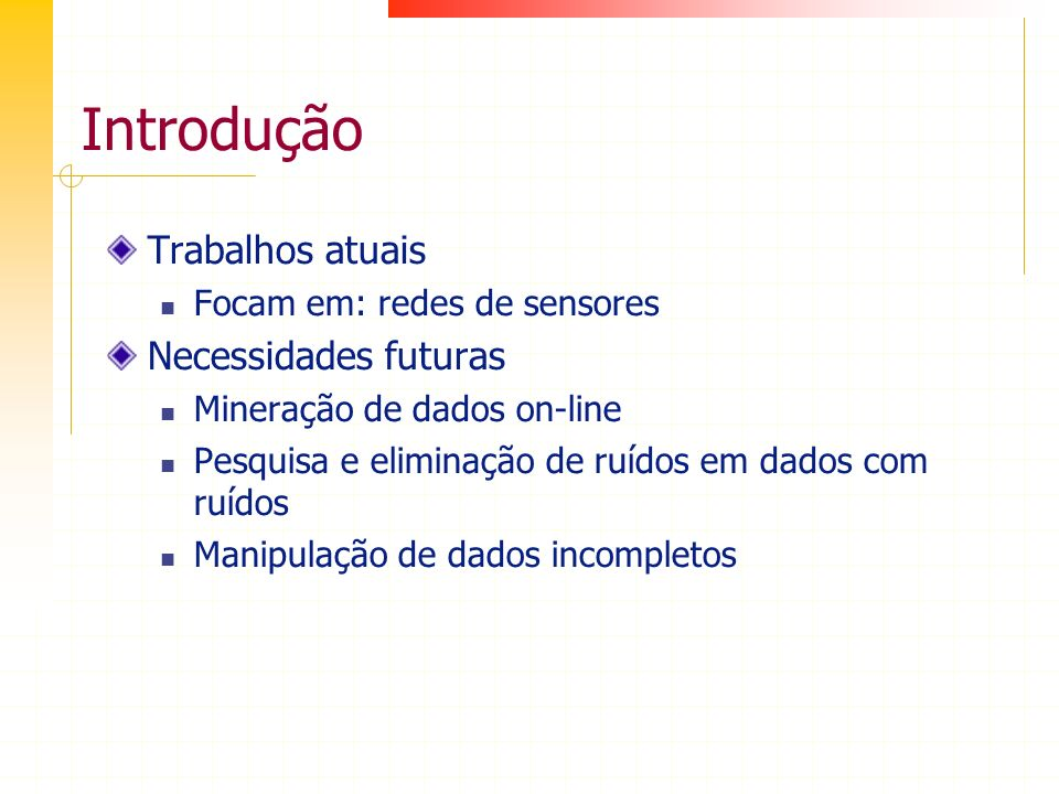 Introdução Trabalhos atuais Necessidades futuras
