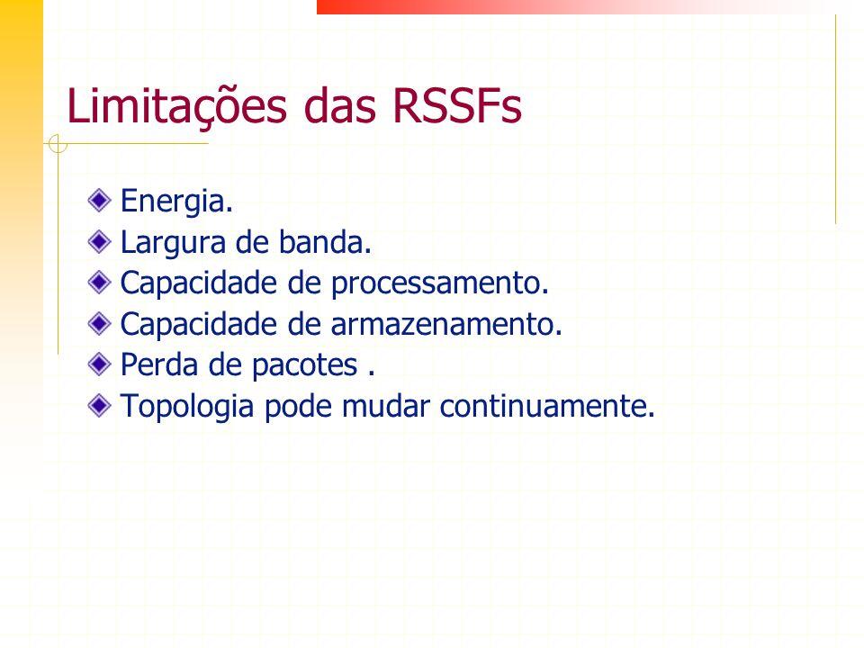 Limitações das RSSFs Energia. Largura de banda.