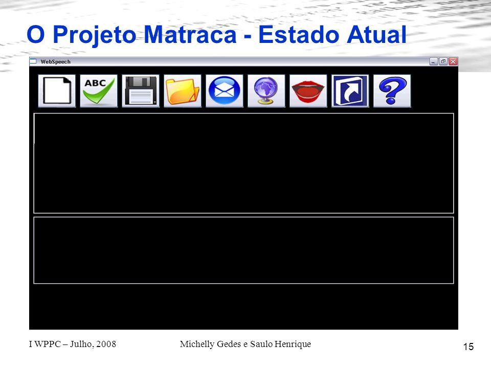 O Projeto Matraca - Estado Atual