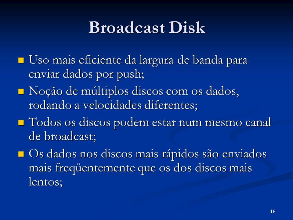 Broadcast Disk Uso mais eficiente da largura de banda para enviar dados por push;