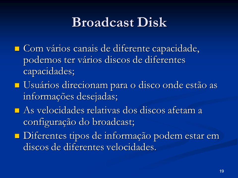 Broadcast Disk Com vários canais de diferente capacidade, podemos ter vários discos de diferentes capacidades;