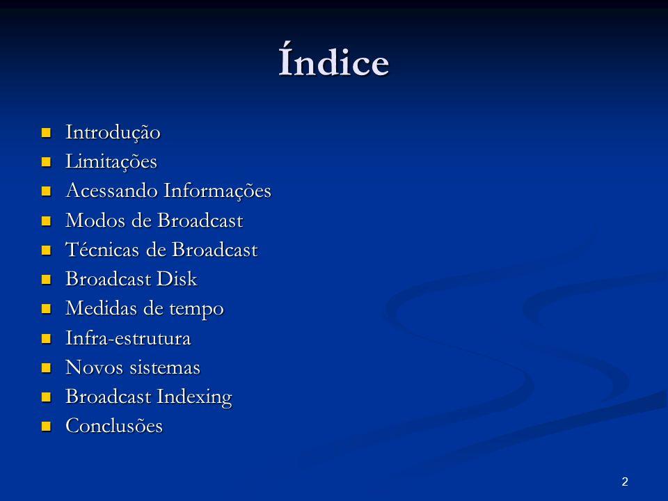 Índice Introdução Limitações Acessando Informações Modos de Broadcast