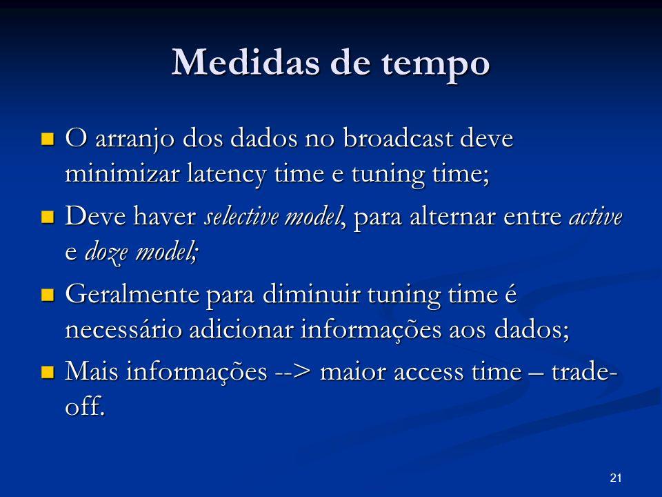 Medidas de tempo O arranjo dos dados no broadcast deve minimizar latency time e tuning time;