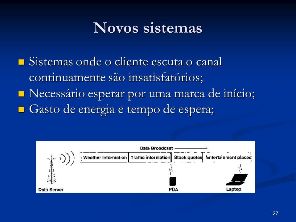 Novos sistemas Sistemas onde o cliente escuta o canal continuamente são insatisfatórios; Necessário esperar por uma marca de início;