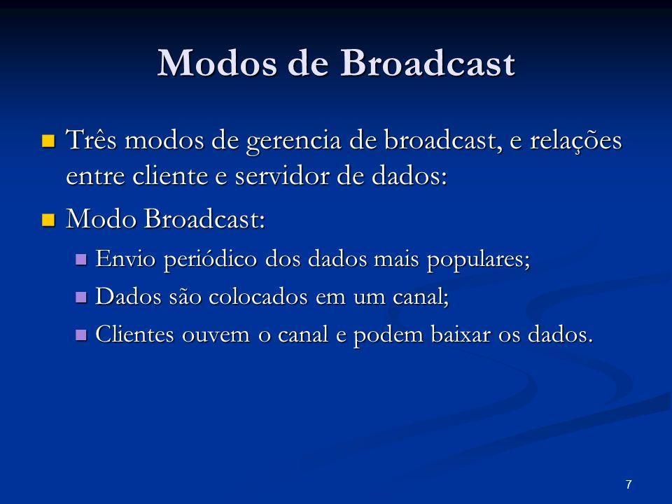 Modos de Broadcast Três modos de gerencia de broadcast, e relações entre cliente e servidor de dados:
