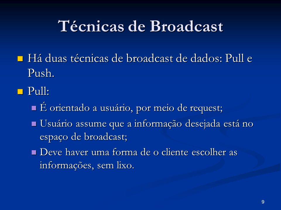 Técnicas de Broadcast Há duas técnicas de broadcast de dados: Pull e Push. Pull: É orientado a usuário, por meio de request;