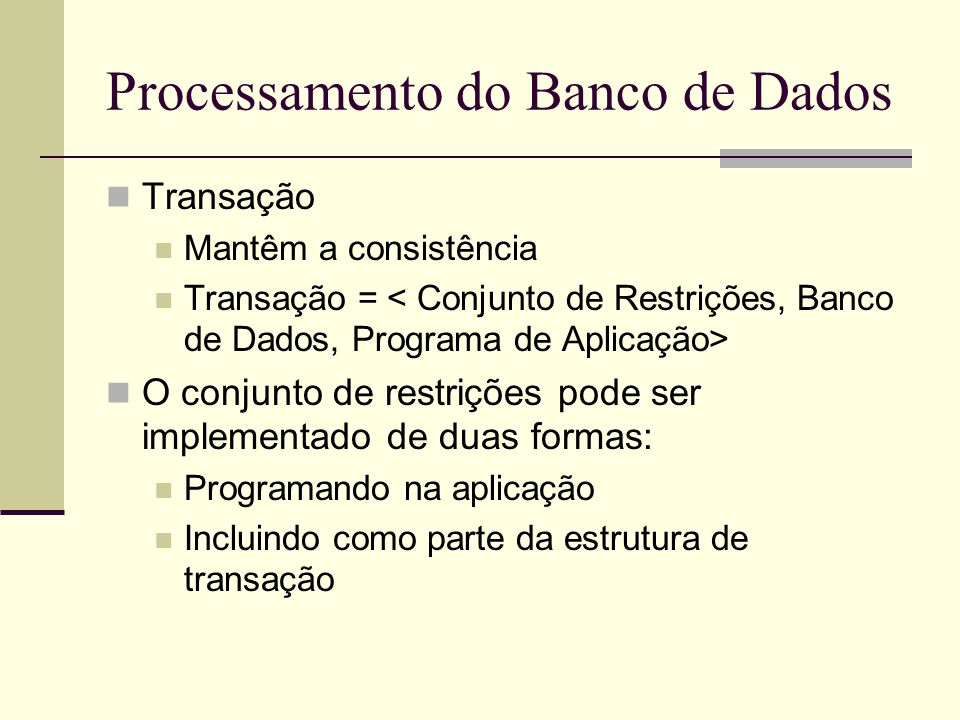 Processamento do Banco de Dados