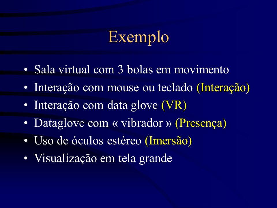 Exemplo Sala virtual com 3 bolas em movimento