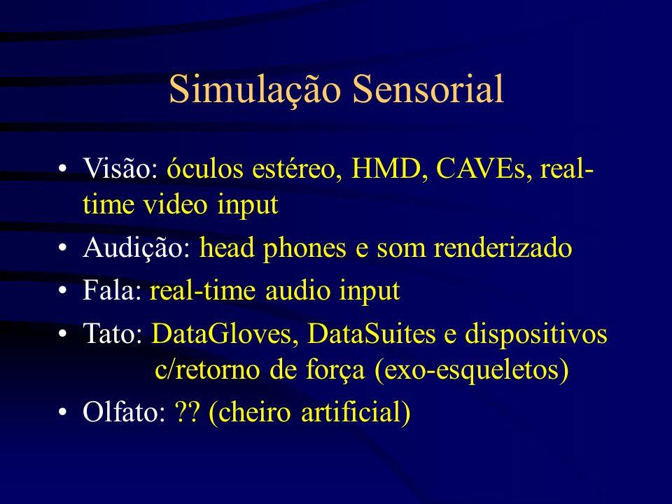 Simulação SensorialVisão: óculos estéreo, HMD, CAVEs, real- time video input. Audição: head phones e som renderizado.