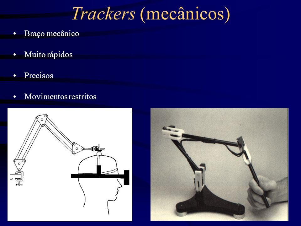 Trackers (mecânicos) Braço mecânico Muito rápidos Precisos