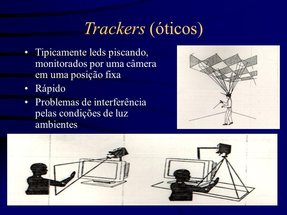 Trackers (óticos) Tipicamente leds piscando, monitorados por uma câmera em uma posição fixa. Rápido.