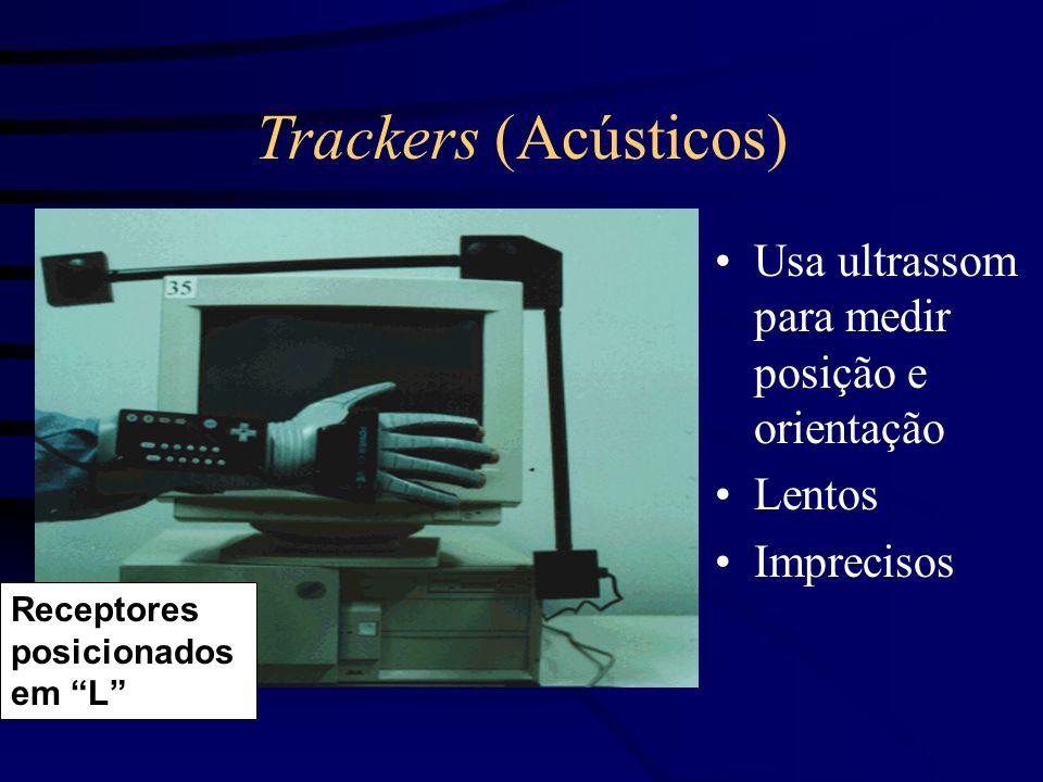 Trackers (Acústicos) Usa ultrassom para medir posição e orientação