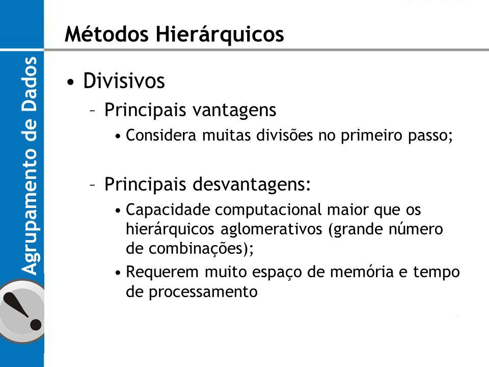 Métodos Hierárquicos Divisivos Agrupamento de Dados
