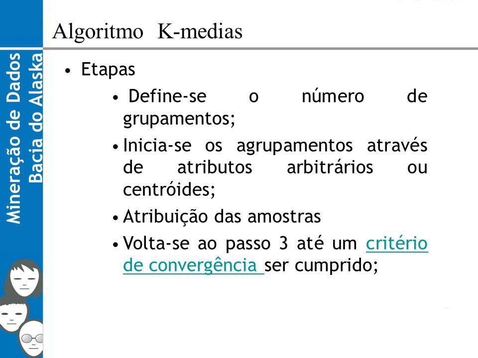 Algoritmo K-medias Etapas Define-se o número de grupamentos;