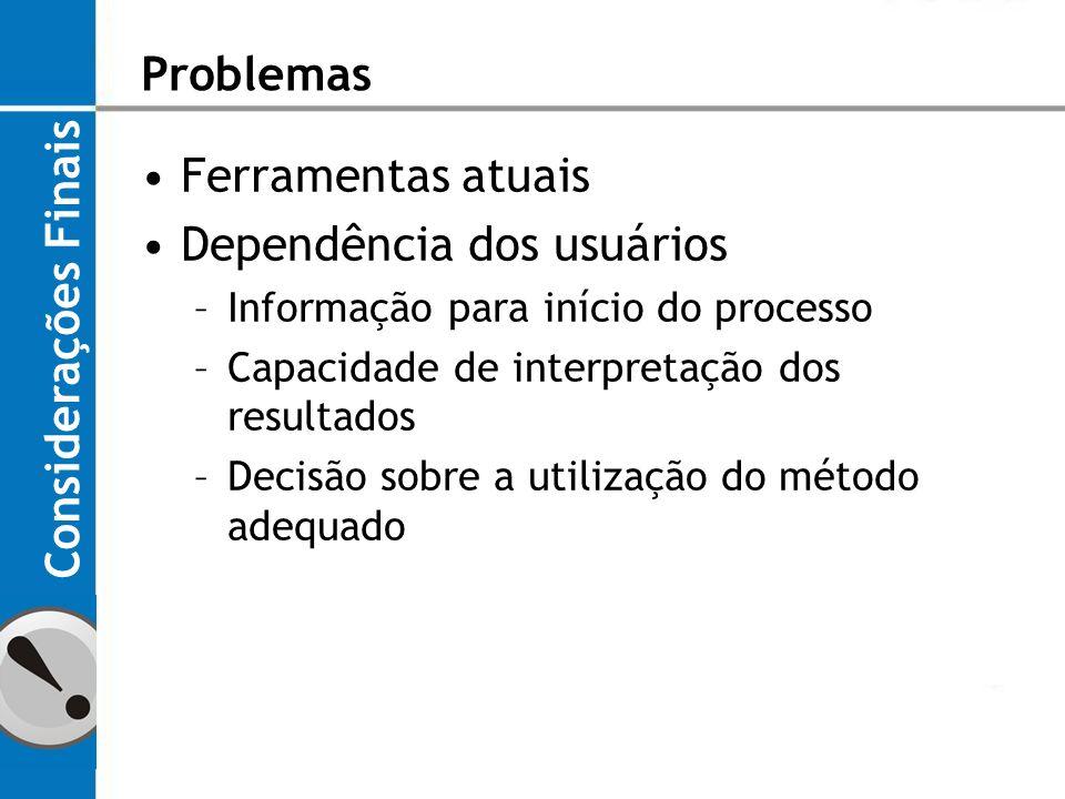 Dependência dos usuários Considerações Finais