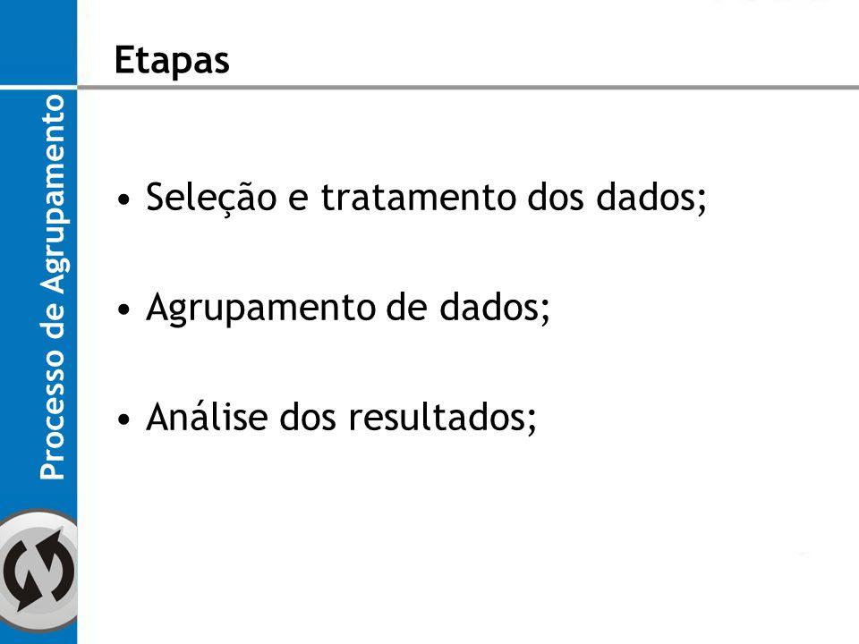 Seleção e tratamento dos dados; Agrupamento de dados;