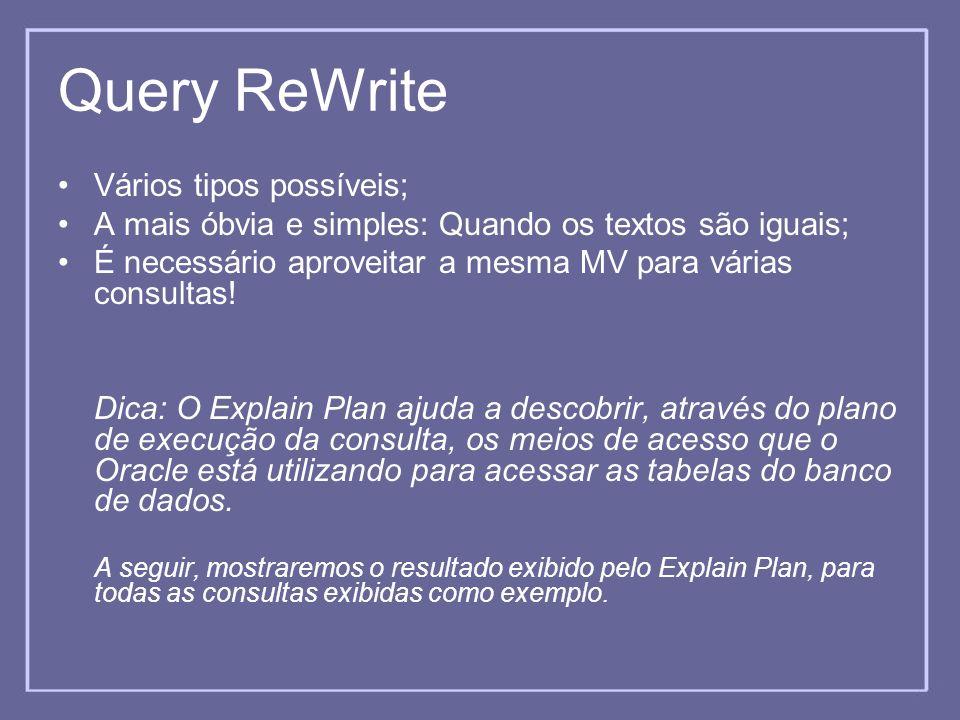 Query ReWrite Vários tipos possíveis;