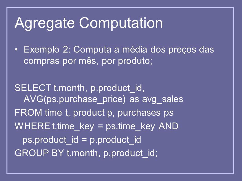 Agregate Computation Exemplo 2: Computa a média dos preços das compras por mês, por produto;