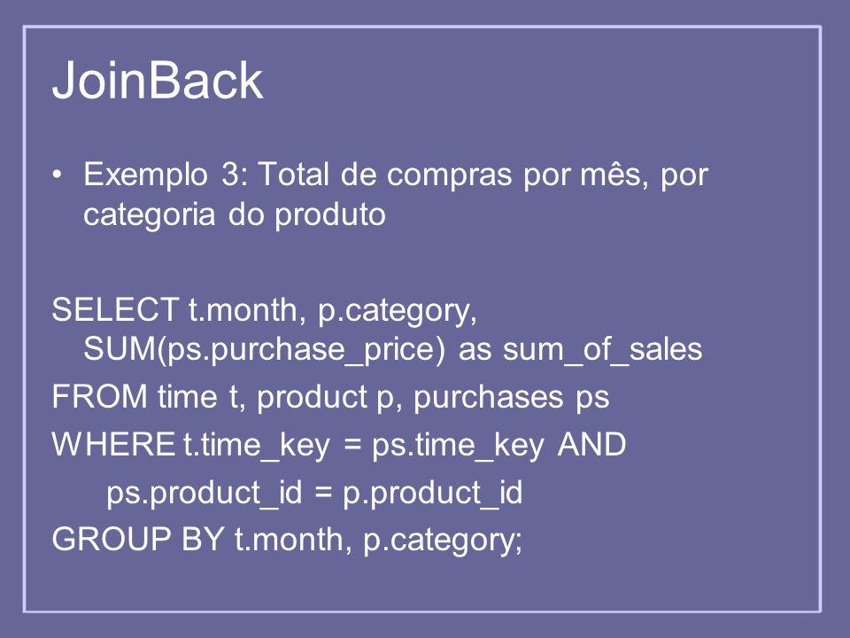 JoinBack Exemplo 3: Total de compras por mês, por categoria do produto