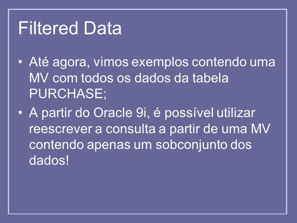 Filtered Data Até agora, vimos exemplos contendo uma MV com todos os dados da tabela PURCHASE;