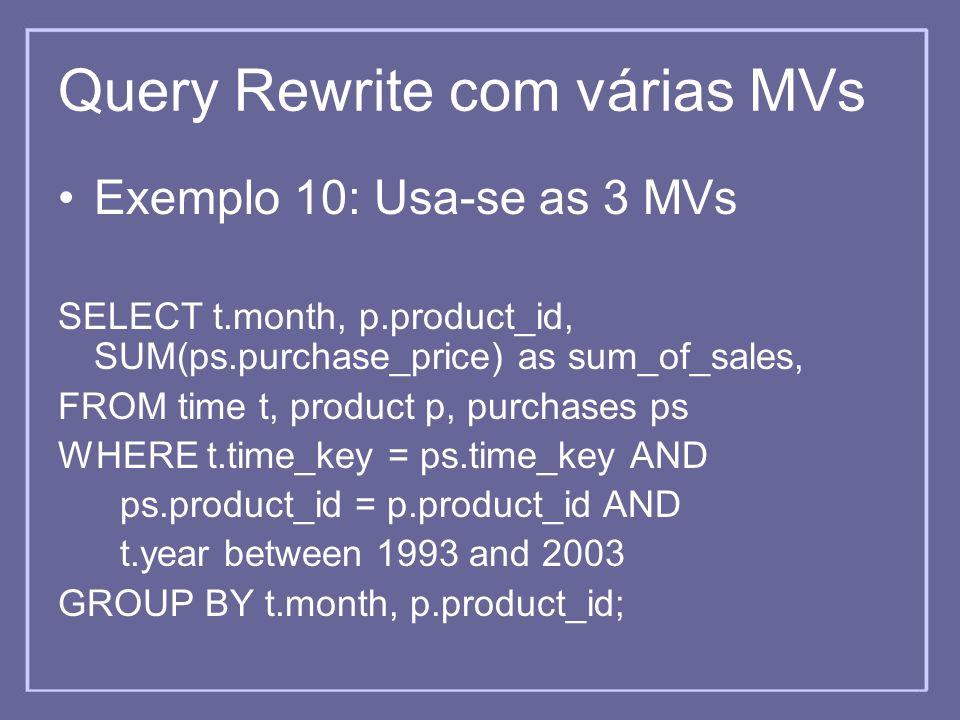 Query Rewrite com várias MVs