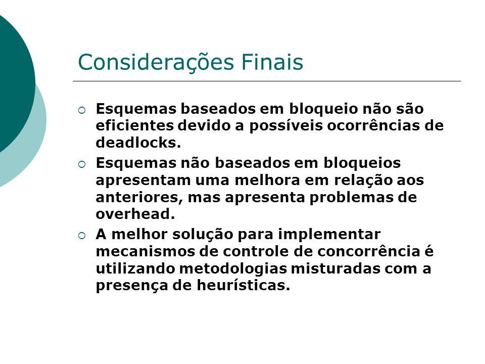 Considerações Finais Esquemas baseados em bloqueio não são eficientes devido a possíveis ocorrências de deadlocks.