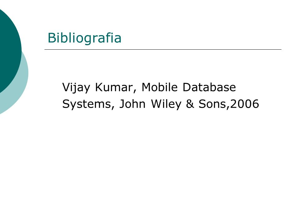 Bibliografia Vijay Kumar, Mobile Database