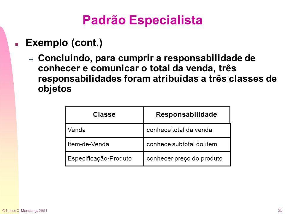 Padrão Especialista Exemplo (cont.)