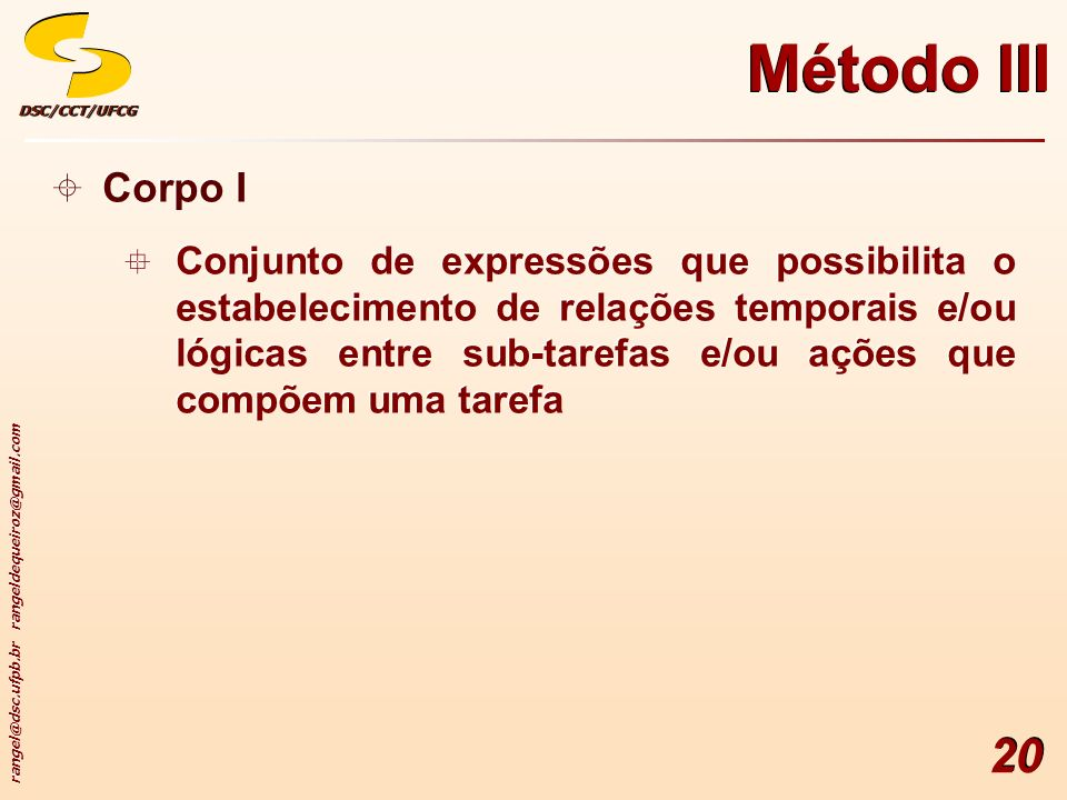 Método III Corpo I.