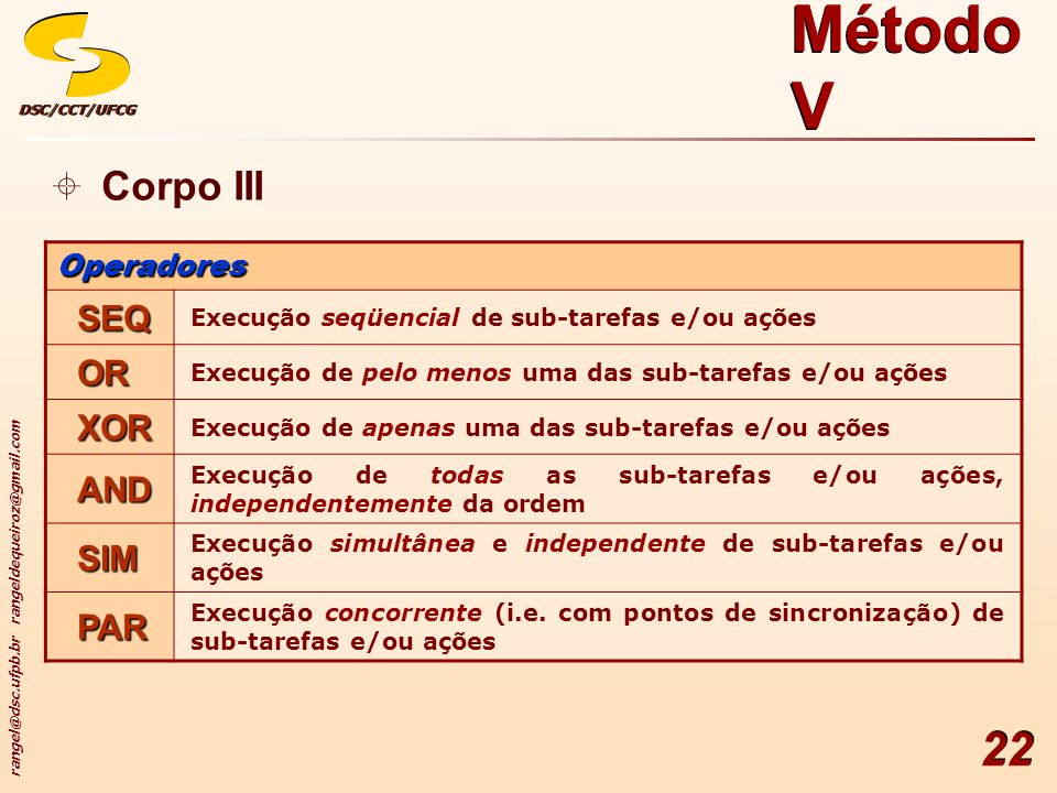Método V Corpo III SEQ OR XOR AND SIM PAR Operadores