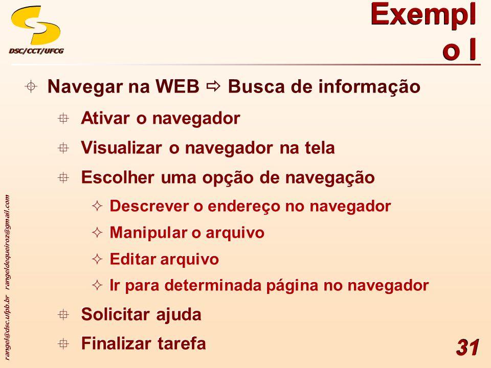 Exemplo I Navegar na WEB  Busca de informação Ativar o navegador