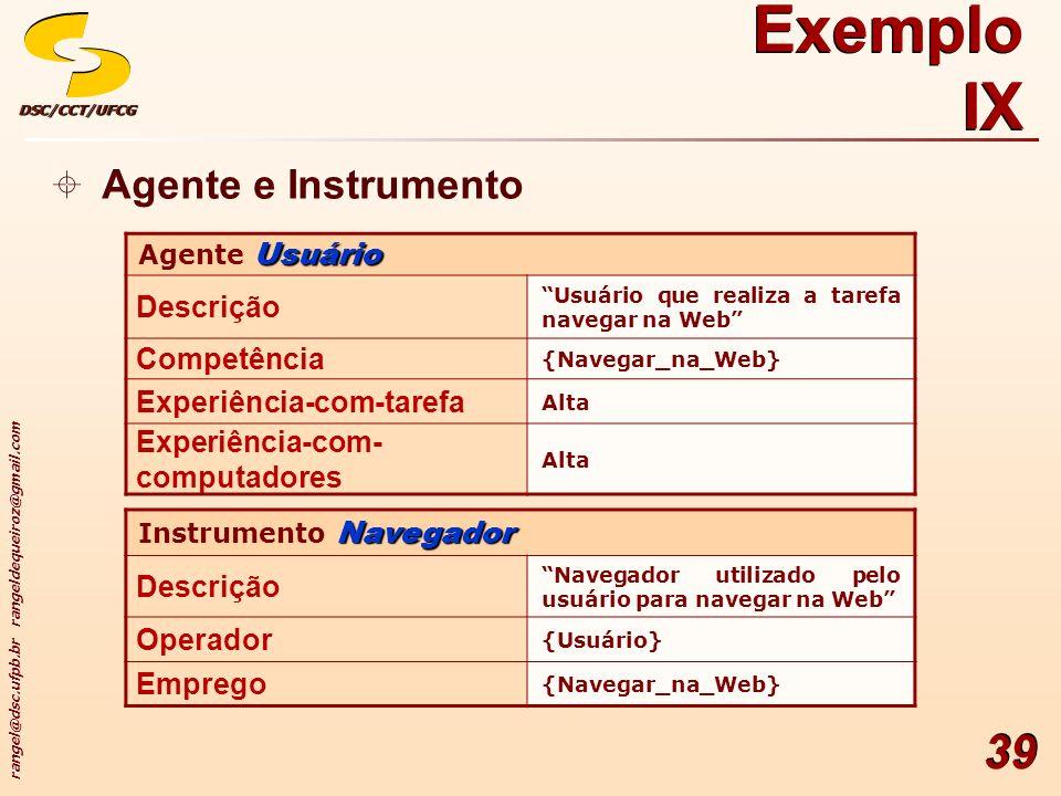 Exemplo IX Agente e Instrumento Descrição Competência