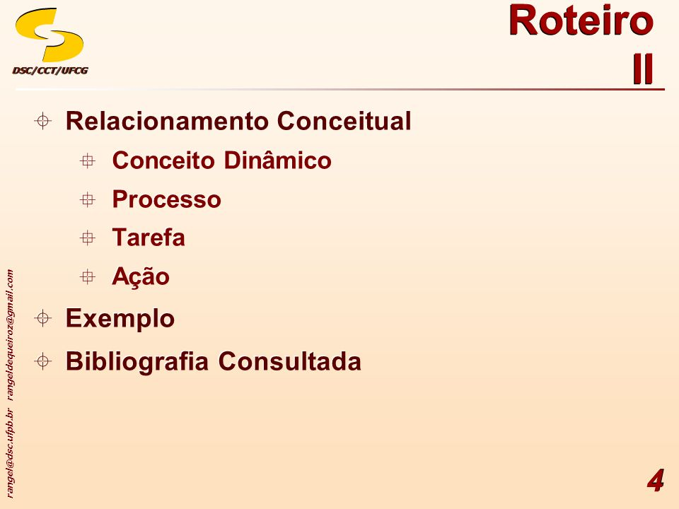 Roteiro II Relacionamento Conceitual Exemplo Bibliografia Consultada